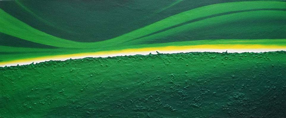 Horizont grün // Größe 1,70 x 0,70 m  -   Sandwelten // Frank Walter - Bilder aus Sand auf Leinwand mit Acrylfarbe