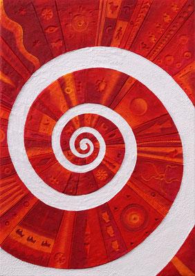 Traumspirale // Größe 1,00 x 0,70 m  -   Sandwelten // Frank Walter - Bilder aus Sand auf Leinwand mit Acrylfarbe
