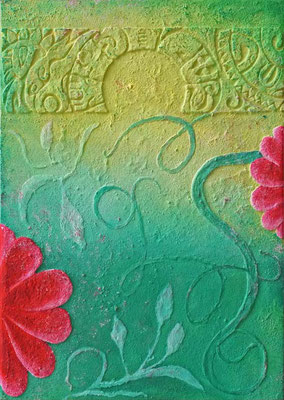 Lotusblüte // Größe: 1,25 x 0,90 m - Sandwelten // Frank Walter - Bilder aus Sand auf Leinwand mit Acrylfarbe