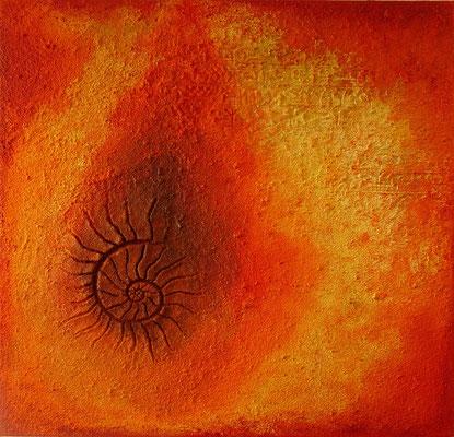 Nautilus // Größe 1,00 x 1,00 m  -   Sandwelten // Frank Walter - Bilder aus Sand auf Leinwand mit Acrylfarbe