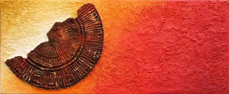 Mandalascherbe // 1,70 x 0,70 cm  -   Sandwelten // Frank Walter - Bilder aus Sand auf Leinwand mit Acrylfarbe