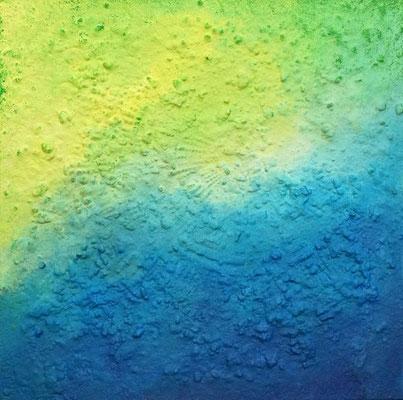 Meeresboden // Größe 0,90 x 0,90 m  -   Sandwelten // Frank Walter - Bilder aus Sand auf Leinwand mit Acrylfarbe