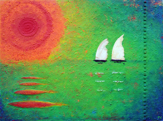 Abendsonne // Größe 1,70 x 1,30 m  -   Sandwelten // Frank Walter - Bilder aus Sand auf Leinwand mit Acrylfarbe