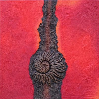 Ammonit kupfer // Größe 0,80 x 0,80 m  -   Sandwelten // Frank Walter - Bilder aus Sand auf Leinwand mit Acrylfarbe
