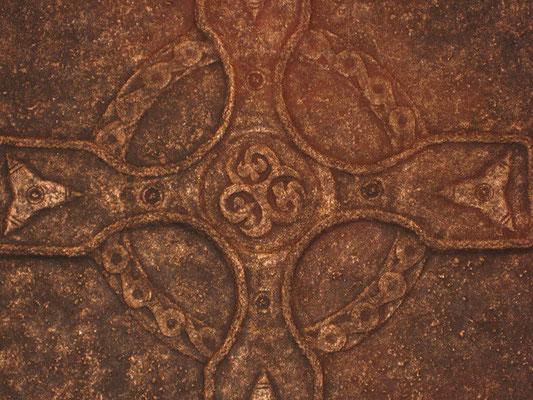 Keltisches Zeichen (Kundenmotiv) // Größe 1,00 x 1,00 m  -   Sandwelten // Frank Walter - Bilder aus Sand auf Leinwand mit Acrylfarbe