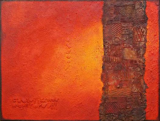 Scherpe // Größe 0,90 x 0,90 m  -   Sandwelten // Frank Walter - Bilder aus Sand auf Leinwand mit Acrylfarbe