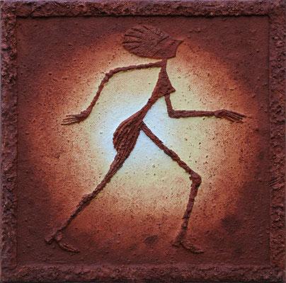 Sonnentanz // Größe 0,90 m x 0,90 m  -   Sandwelten // Frank Walter - Bilder aus Sand auf Leinwand mit Acrylfarbe