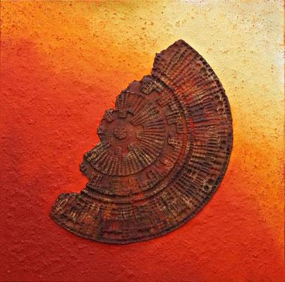 Mandalascherbe // 1,00 x 1,00 cm  -   Sandwelten // Frank Walter - Bilder aus Sand auf Leinwand mit Acrylfarbe