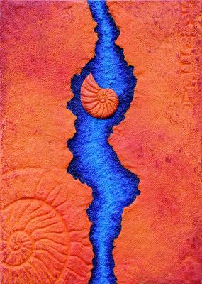 Fluss // Größe 0,70 x 0,50 m  -   Sandwelten // Frank Walter - Bilder aus Sand auf Leinwand mit Acrylfarbe