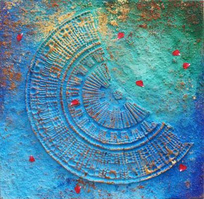 Rosenblatt // Größe 0,90 x 0,90 m  -   Sandwelten // Frank Walter - Bilder aus Sand auf Leinwand mit Acrylfarbe
