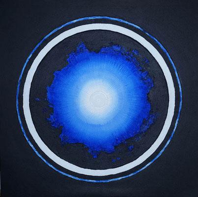 Mandala blue // Größe 1,00 x 1,00 m  -   Sandwelten // Frank Walter - Bilder aus Sand auf Leinwand mit Acrylfarbe
