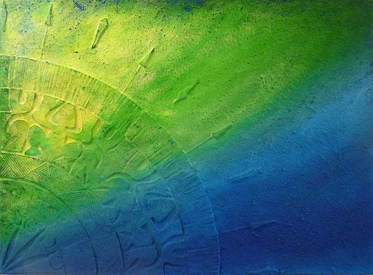 Maori grün  // Größe 1,20 x 0,90 m  -   Sandwelten // Frank Walter - Bilder aus Sand auf Leinwand mit Acrylfarbe