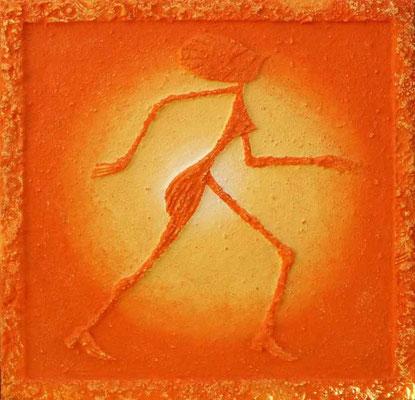 Sonnentanz orange // 0,90 x 0,90 cm   -   Sandwelten // Frank Walter - Bilder aus Sand auf Leinwand mit Acrylfarbe