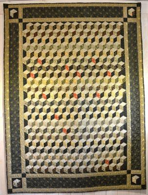 Babyblocks aus Willam Morris Stoffen, 130 cm x 230 cm, 3 Jahre handgenäht