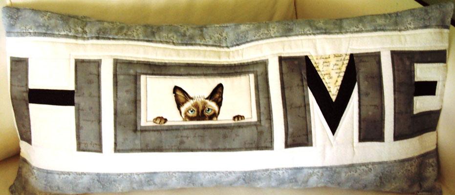 graues Katzenkissen, H O M E, 40 x 80
