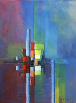 Hafenansicht. Öl auf Leinwand, 80 x 60 cm.