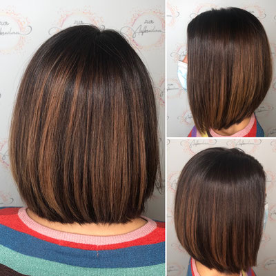 Trendfrisur Long-Bob und Haarfarbe mit Balayage