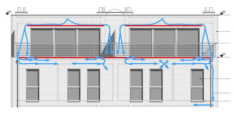 La façade du 1er et 2ème étage avec le trajet supposé des infiltrations d'eau par le parement.