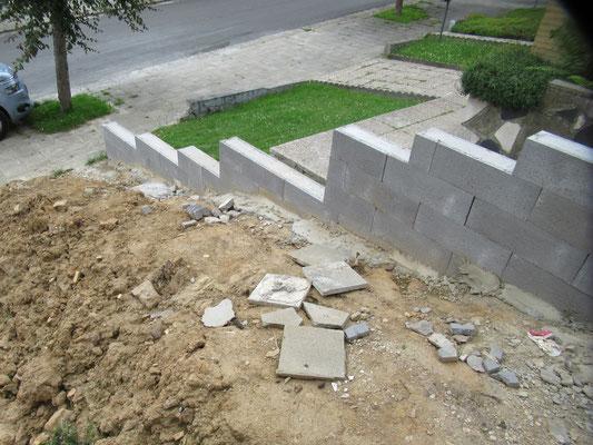 Pas de liaison entre les armatures du mur et la fondation