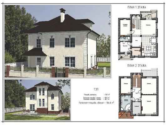 Проект 2-х этажного дома, пл. застройки 135,1 кв.м., полезная пл. 1 этажа - 100,1 кв.м., 2 этажа - 86,7 кв.м., полезная пл. здания - 186,8 кв.м