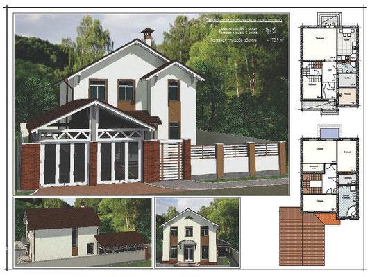Проект 2-х этажнго дома, полезная пл. 1 этажа - 95,2 кв.м., 2 этажа - 75,7 кв.м., полезная пл. здания - 170,9 кв.м