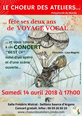 concert d'anniversaire du choeur des ateliers, direction Lisa Magrini. le 14 Avril 18 à 17h