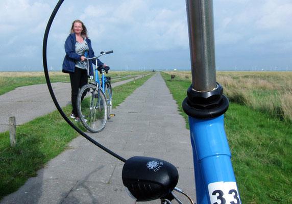 Landschaft mit Fahrrädern und Ehefrau irgendwo in Friesland