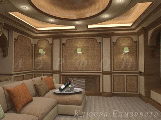 Персональный кинозал, 2012 г., Загородный дом (цокольный этаж) (фото 3)