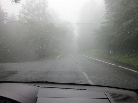 濃霧の霧ヶ峰高原