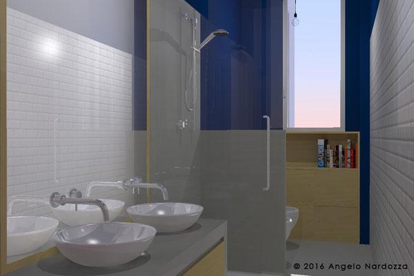 Bagno della zona notte, con sanitari in linea lungo una parete. La parete opposta è rivestita con le piastrelle diamantate usate anche in cucina, che rimandano all'epoca della casa.