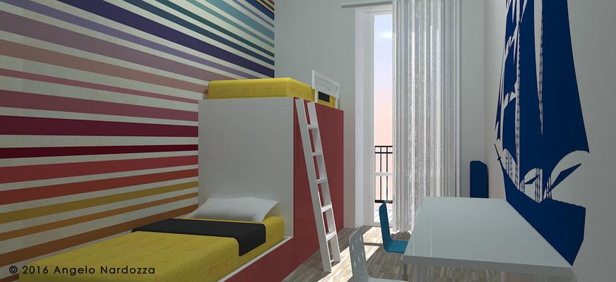 Nella camera dei ragazzi il doppio letto-guardaroba (su disegno) riduce gli ingombri lasciando spazio per lo studio e il gioco. Il colore rosso carminio di ante e cassetti e il blu dello sticker murale sono armonizzati dalla carta da parati a righe.