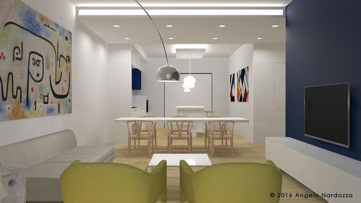Il living con zona pranzo e cucina. La zona pranzo, con tavolo allungabile, è pensata per la massima flessibilità e per accogliere tanti ospiti.