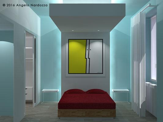 Nella camera matrimoniale la testiera in cartongesso si unisce al controsoffitto creando una sorta di alcova che, in abbinamento al colore azzurro acquamarina delle pareti, rende l'ambiente intimo e rilassante.