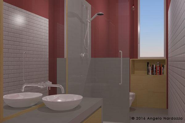 """Bagno della zona giorno. In entrambi i bagni Il soffitto e le superfici verticali non rivestite sono tinteggiati in colori più scuri, per scongiurare l'effetto """"corridoio"""" di cui gli ambienti lunghi, stretti e alti potrebbero soffrire."""