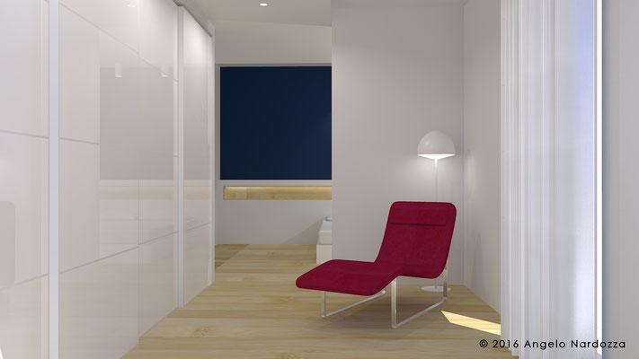 La camera padronale con zona relax/spogliatoio, nata dalla riconversione del vecchio soggiorno.