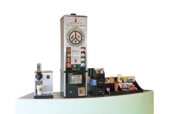 Kapsel-Automatkombiniert mit einer Kaffeemaschine
