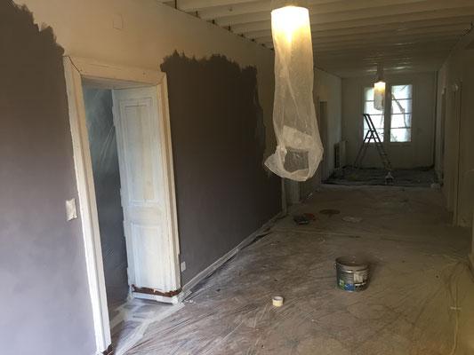 Entrée/couloir : mise en peinture, coloris gris