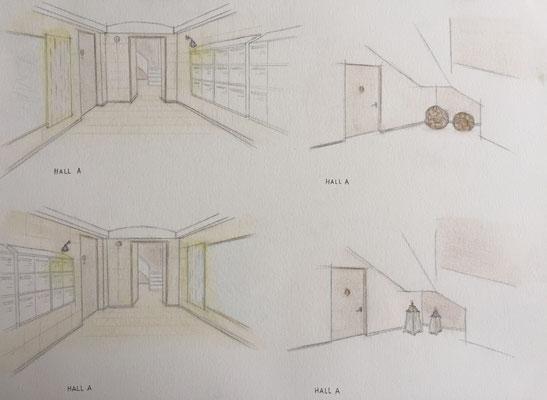 Croquis proposition de décoration hall A
