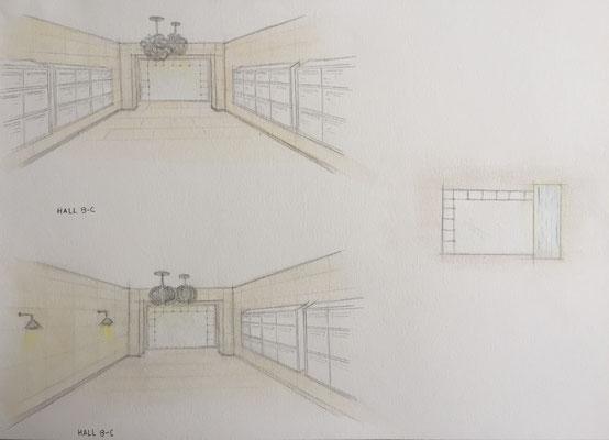 Croquis proposition de décoration hall B/C