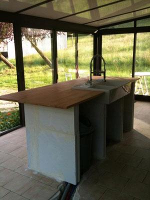 Crétion d'une cuisine dans l'ancienne véranda