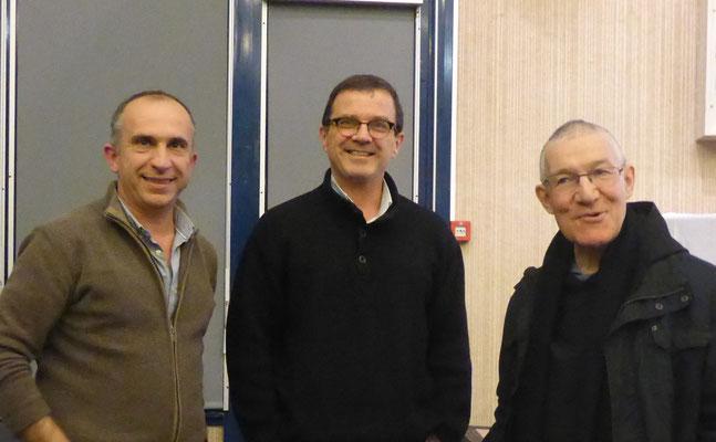 """Michel AMULET (école """"Joyeux Béarn""""), Erik PILLET (communauté de l'Arche) et père JOËL (père-abbé de Tounay)"""
