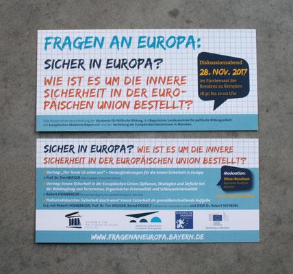 Veranstaltungsreihe: Fragen an Europa. Gestaltung und Umsetzung von Flyern und Plakaten für diverse Standorte über mehrere Jahre