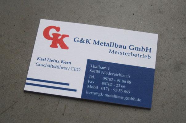 G&K Metallbau Visitenkarte mit Farbkern
