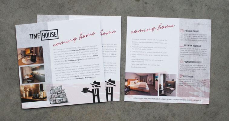 Flyer für Timehouse in deutsch und englisch