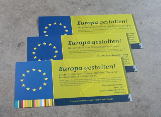 """Veranstaltungsreihe """"Europa gestalten"""", Gestaltungslinie, Flyer und Plakate für versch. Standorte"""