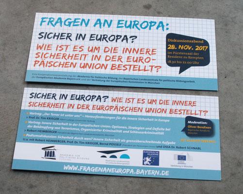 """Veranstaltungsreihe """"Fragen an Europa"""", Gestaltungslinie, Flyer und Plakate für versch. Standorte"""
