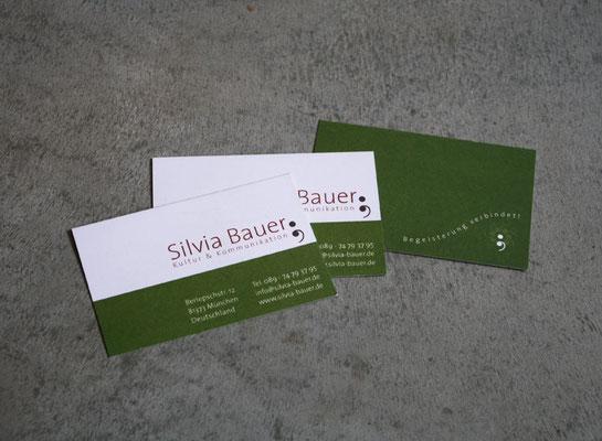Logoentwicklung und Geschäftspapiere für Silvia Bauer