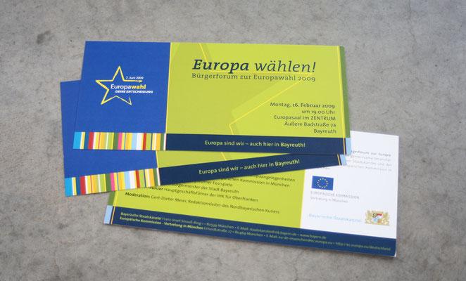 """Veranstaltungsreihe """"Europa wählen"""", Gestaltungslinie, Flyer und Plakate für versch. Standorte"""