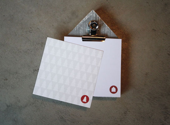 Klemmbrett mit Notizblock und Karte für Architekten Hans Baumann & Freunde