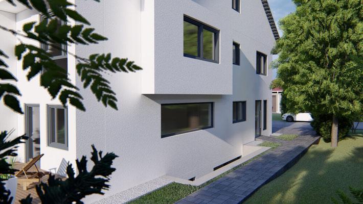Animation eines projektierten Mehrgenerationenhauses in Steinheim an der Murr